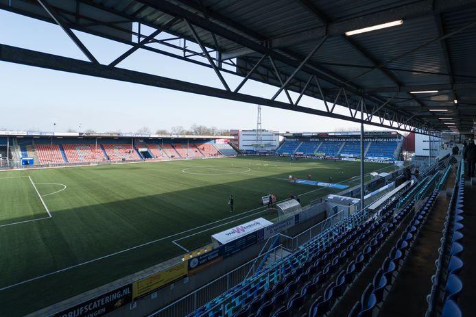 Het veld van stadion De Vliert, waar de thuiswedstrijd tegen Almere City zou worden gespeeld, blijft dinsdagavond leeg.