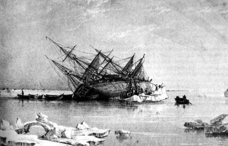 De 31 meter lange Terror was een oorlogsschip dat samen met het vlaggenschip van onderzoeker John Franklin, de HMS Erebus, in het ijs kwam vast te zitten.