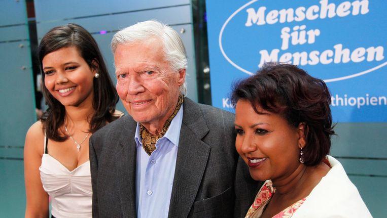 Karlheinz Böhm met zijn Ethiopische echtgenote Almaz en hun dochter Almaz jr. Foto uit 2011.