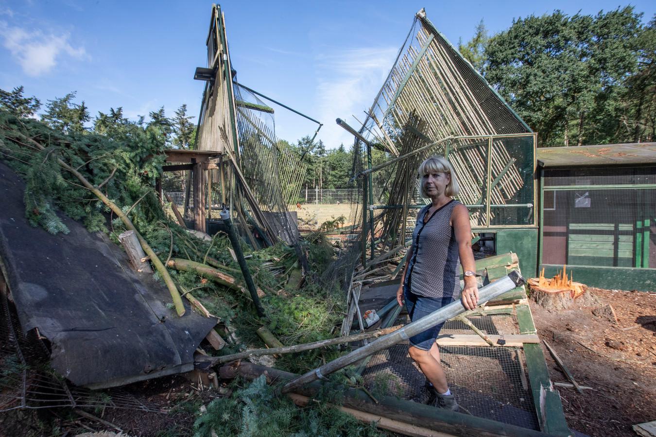 Pepie Smits bij voliere vogelasiel Someren die door omvallende boom kapot is gegaan.