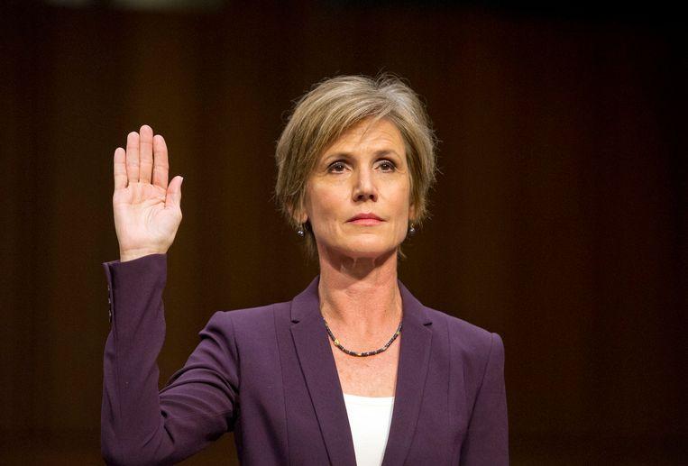 De door Trump ontslagen justitieminister Sally Yates getuigde op 9 mei voor de Senaatscommissie over mogelijke Russische inmenging bij de Amerikaanse presidentsverkiezingen.