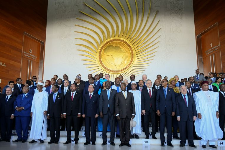 De Afrikaanse leiders op de 33ste UA-top in Ethiopië.