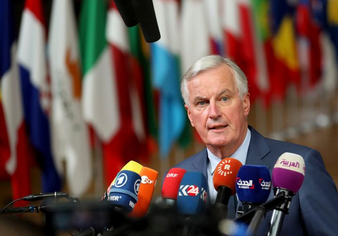 Michel Barnier vanavond in Brussel.