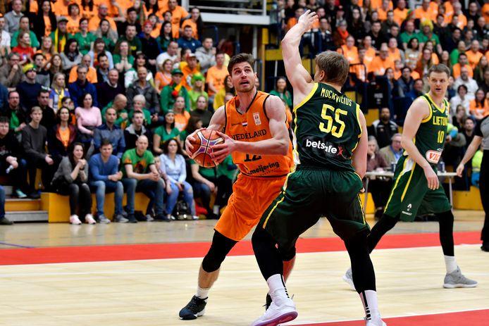 Thomas van der Mars in actie voor Oranje in een eerdere interland tegen Litouwen.