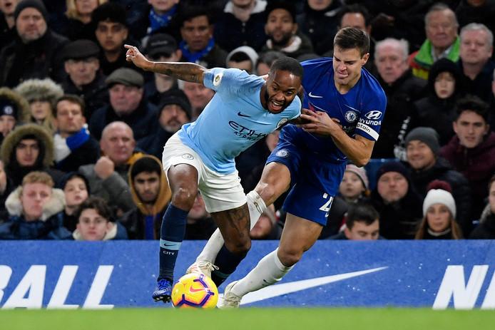 Sterling in actie tegen Chelsea.