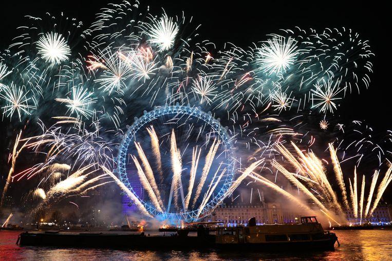 De vuurwerkshow in Londen.