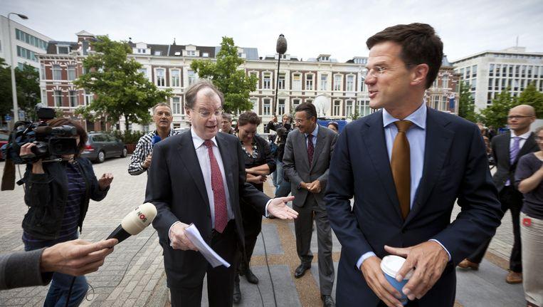 VNO-NCW voorzitter Bernard Wientjes (L) en premier Mark Rutte. Beeld ANP
