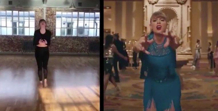 Zo oefende Taylor Swift haar danspasjes.