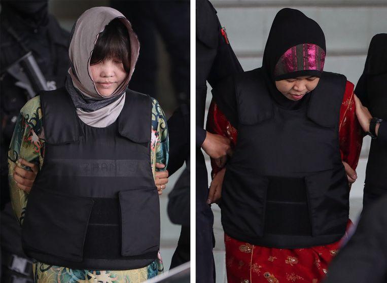 De moordverdachten: de Vietnamese Doan Thi Huong (L) en Indonesische Siti Asiyah (R).