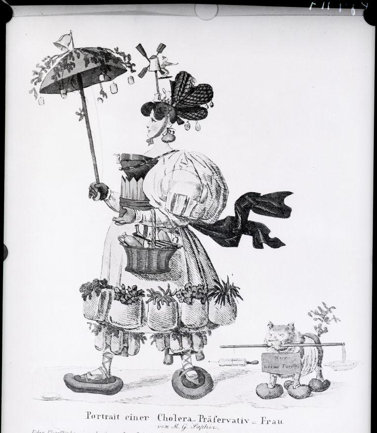 De gravure bij de tekst van Moritz Gottlieb Saphir waarin hij de draak steekt met adviezen tegen cholera. Beeld Getty