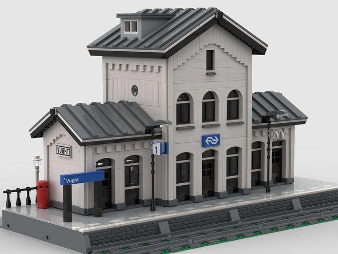 Het stationsgebouw van Vught kan met 2450 Legoblokjes worden gebouwd, als de stappen worden gevolgd.