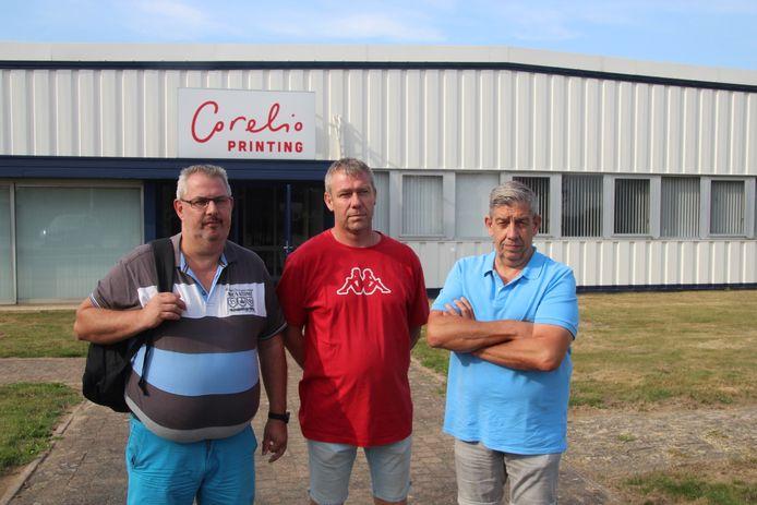 Vakbondsafgevaardigden Steve De Ruyck (BBTK), Chris Schepens (ACLVB) en Johan Vercammen (ACV).