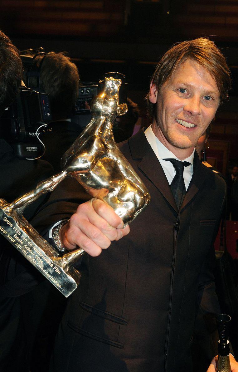 Gijs Naber won de Gouden Kalf voor zijn rol in Aanmodderfakker. Beeld Frans van Zijst