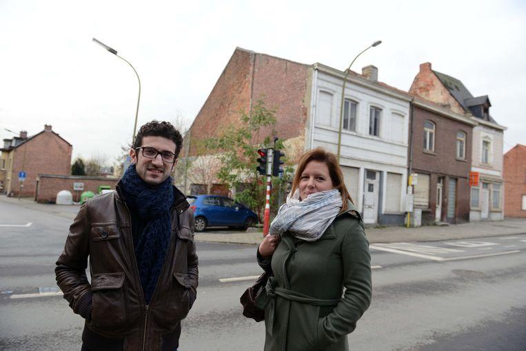 Mohamed Ridouani en Katrien Van Uytsel aan de Geldenaaksebaan waar een ecologisch groepswoonproject komt.