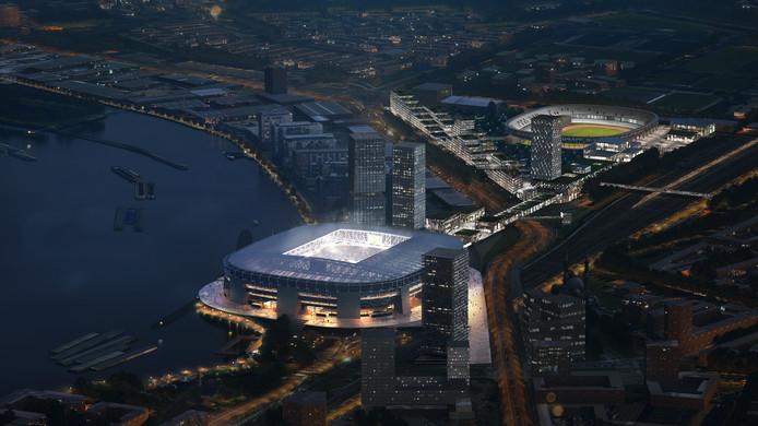 Het nieuwe stadion van Feyenoord - mét verlichting - en in de verte De Kuip.