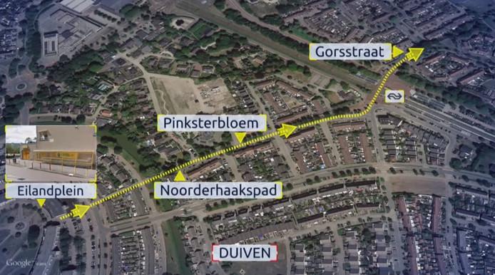 De vluchtroute van de overvaller van de Jumbo in Duiven.