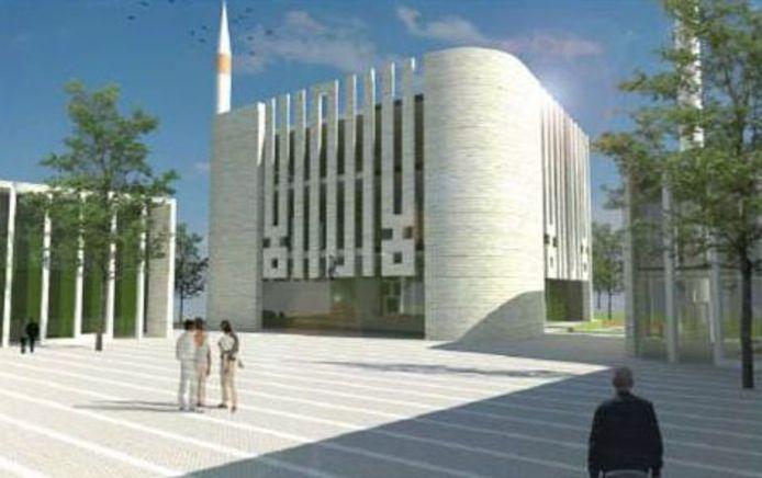 Schets van de moskee die in Nijmegen moet verrijzen aan de Neerbosscheweg.