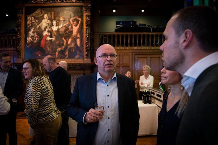 Henk Staghouwer (CU) tijdens de centrale uitslagenavond van de Provinciale Statenverkiezingen en Waterschapsverkiezingen in Provinciehuis Groningen.