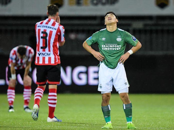 Ritsu Doan ziet PSV ook tegen Sparta dure punten verspelen.