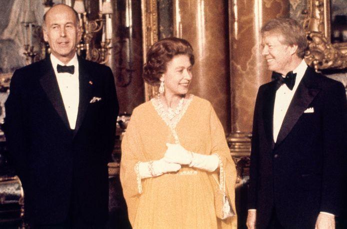 Giscard d'Estaing in 1977 met koningin Elizabeth II en de toenmalige Amerikaanse president Jimmy Carter.