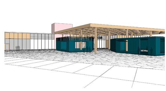 Het gebouw van Carrefour krijgt er paviljoenen en een houten luifel bij.