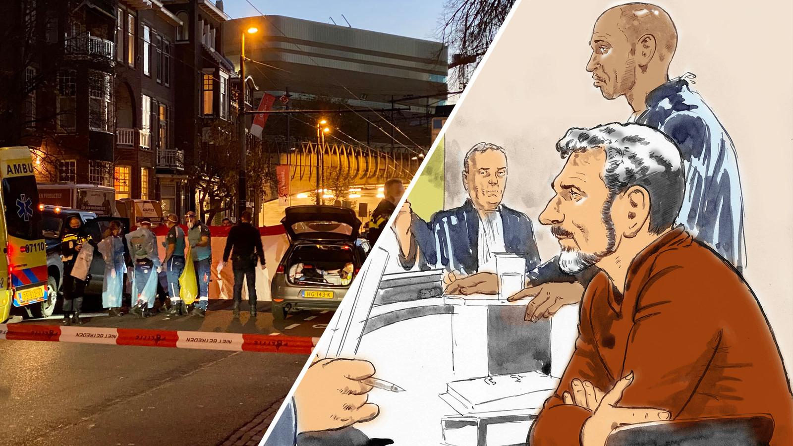 Hulpdiensten op straat in Arnhem, vlak na het schietincident. / Rechtbanktekening van Jos Brech, op de achtergrond zijn advocaat Gerald Roethof.