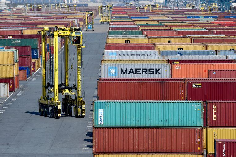 De containerterminal in de haven van Antwerpen.  Beeld BELGA