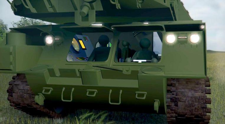 Animatie van de BUK-raketinstallatie het JIT gemaakt door het OM. Beeld Openbaar Ministerie