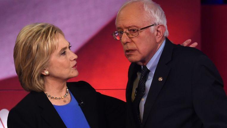 Clinton en Sanders. Beeld AFP