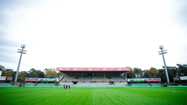 Het Souvereinstadion van Lommel. Beeld Getty Images
