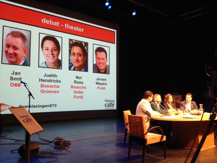 De vier lijsttrekkers die deelnamen aan het debat over een nieuw theater in Den Bosch.