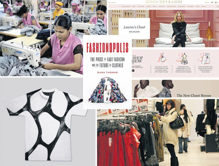 Vanaf linksboven, met de klok mee: een kledingfabriek in Bangladesh, webwinkel Moda Operandi, de H&M, leer van Modern Meadow. Beeld Getty, ANP