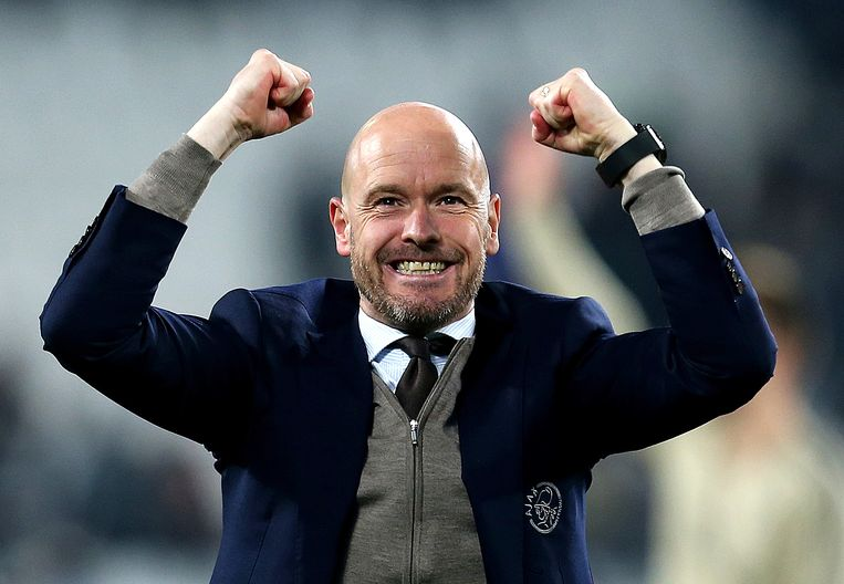 Ajax manager Erik ten Hag celebrates after the final whistle Beeld BSR Agency