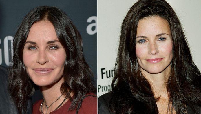 Links: Courteney Cox gisteren op de rode loper, de actrice in 2005.