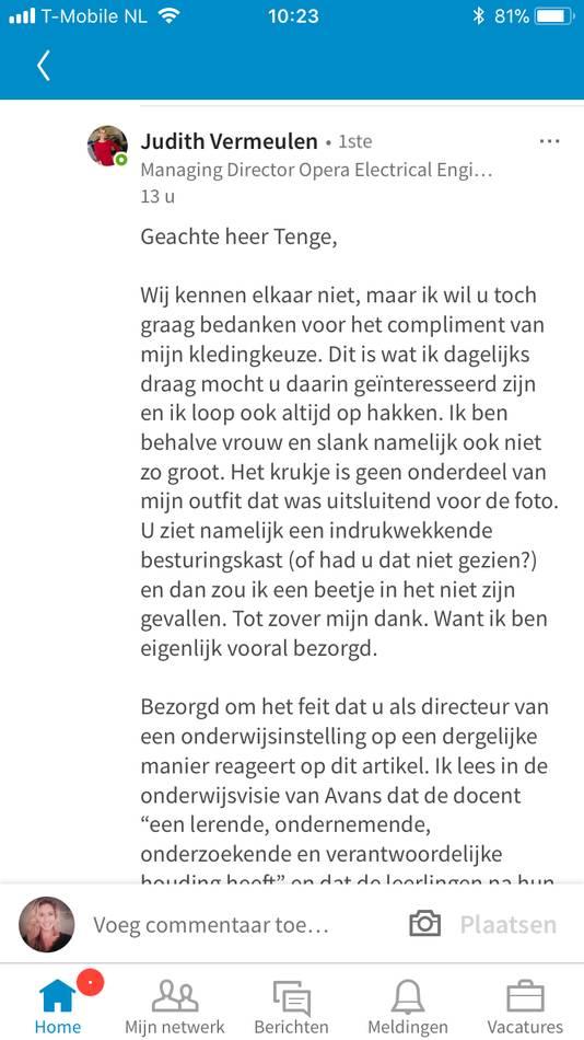 Screenshot reacties onder artikel van Judith Vermeulen op LinkedIn WI Nederland