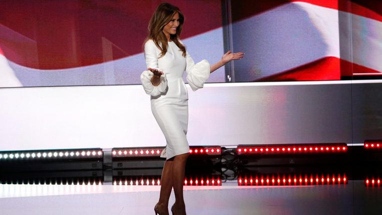 Melania Trump tijdens de Republikeinse conventie in juli Beeld epa