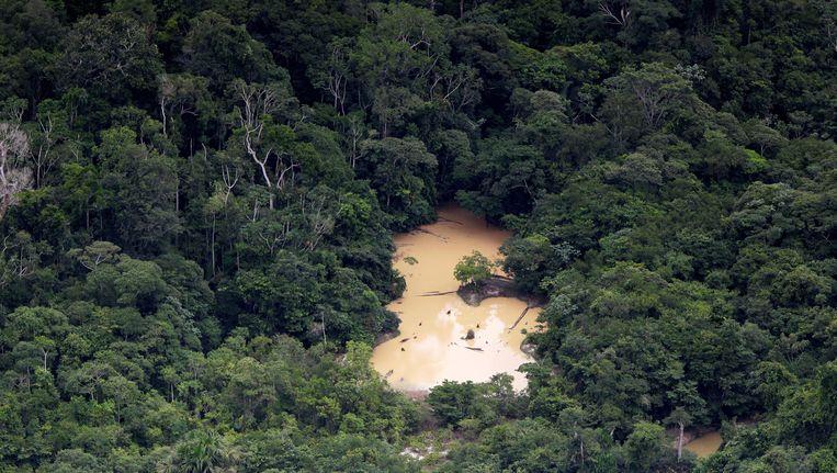 Illegale mijnbouw in het Amazonegebied.