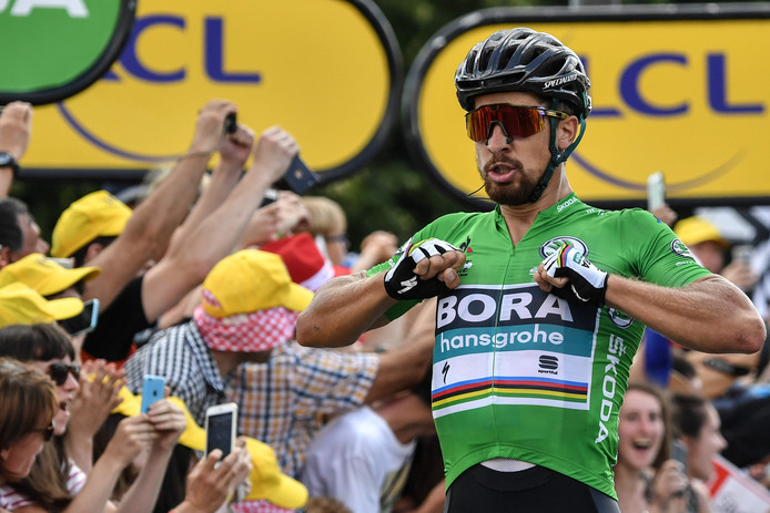 Slovakia's Peter Sagan celebrates as he crosses the finish line to win the fifth stage of the 105th edition of the Tour de France cycling race between Lorient and Quimper, western France, on July 11, 2018. / AFP PHOTO / Marco BERTORELLO