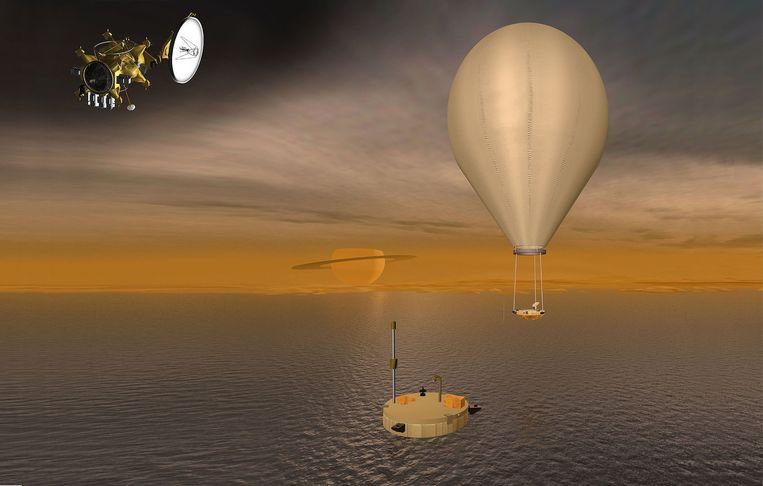 De TiME-lander op Titan, in een artistieke impressie van de NASA.