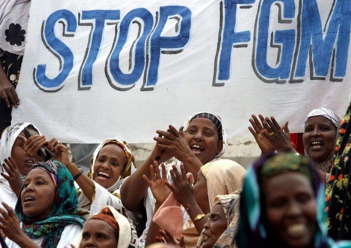 Demonstratie tegen vrouwenbesnijdenis in Somalië.