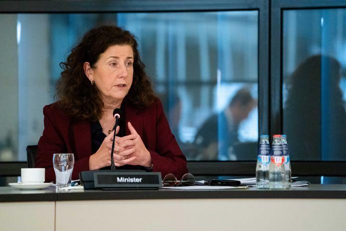 Minister Ingrid van Engelshoven (Cultuur) tijdens het debat in de Tweede Kamer over de impact van de coronacrisis op de cultuursector.