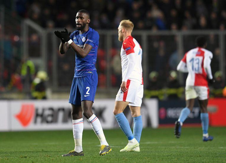 Antonio Ruediger was erbij toen Chelsea Slavia Praag uitschakelde in de kwartfinales van de Europa League.