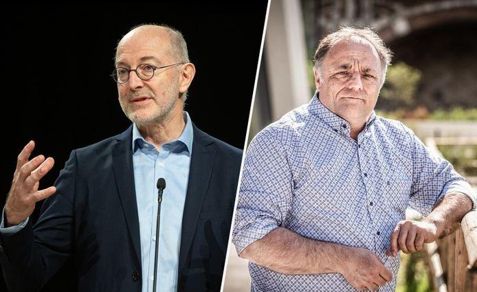 Vaccinoloog Pierre Van Damme (UAntwerpen) en viroloog Marc Van Ranst (KULeuven). Van Damme wil meer draagvlak creëren voor de geldende maatregelen, Van Ranst benadrukt de noodzaak aan extra maatregelen.