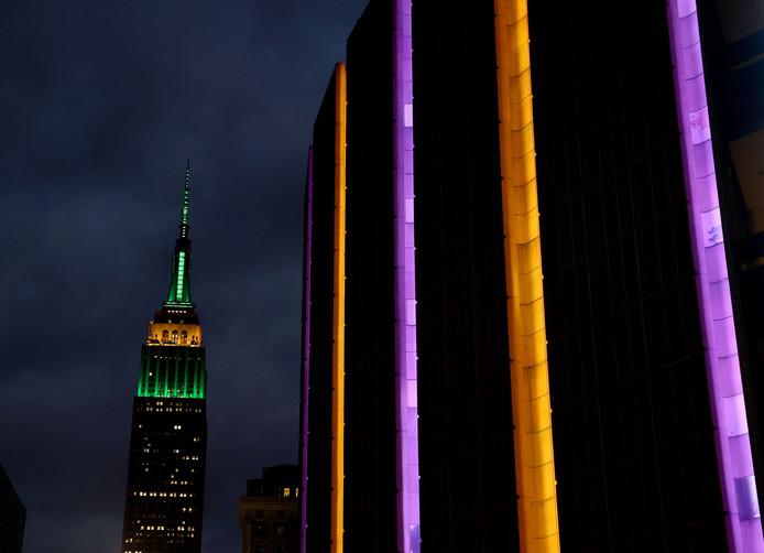 Madison Square Garden in de kleuren van LA Lakers ter ere van de overleden Kobe Bryant.