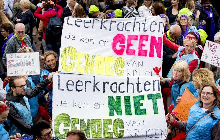 Afgelopen jaar gingen leraren en ander onderwijspersoneel uit het basisonderwijs de straat op om te demonstreren tegen de werkdruk.  Beeld ANP