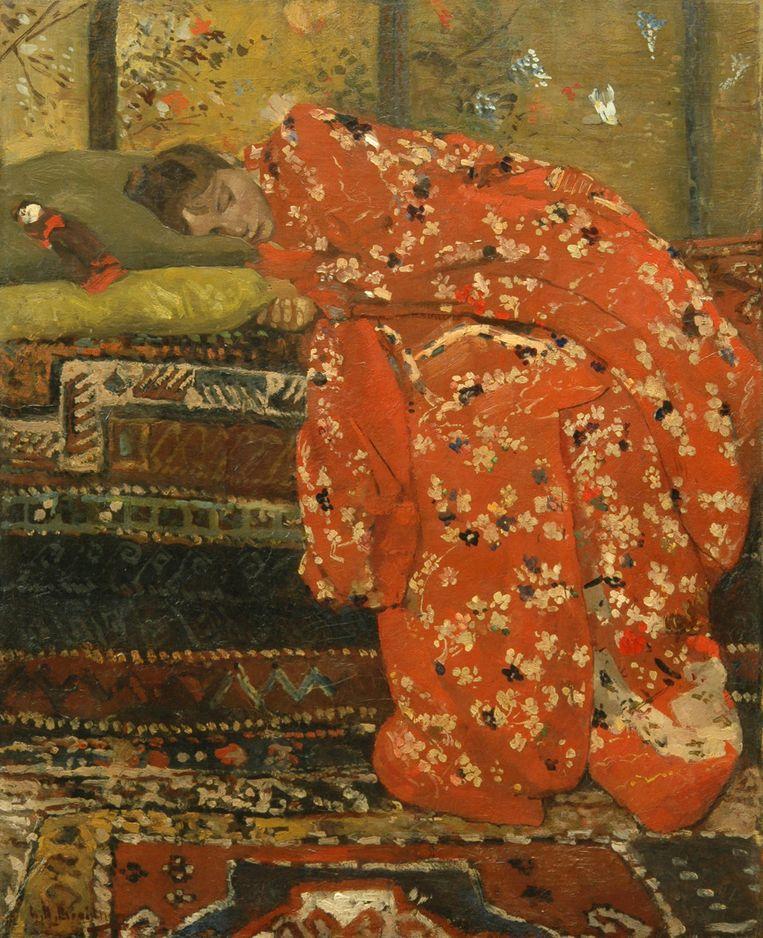George Hendrik Breitner, 'Meisje in rode kimono' (Geesje Kwak), 1895-1896 Beeld TR Beeld