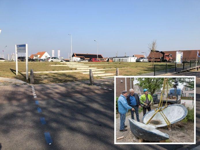 De nieuwe locatie van het kunstwerk: de Havendijk, ter hoogte van het kruispunt met de Burenpolderweg.