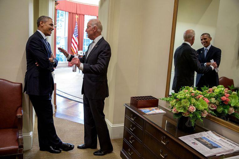 Omdat Biden nog geen besluit heeft genomen over een kandidatuur, is Obama zuinigjes met het uitspreken van zijn steun voor Hillary Clinton. Beeld White House Photo