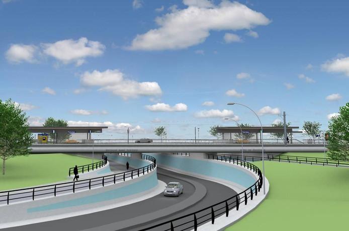 Situatieschets van het viaduct bij Stadshagen en het Kamperlijntje. Illustratie ProRail