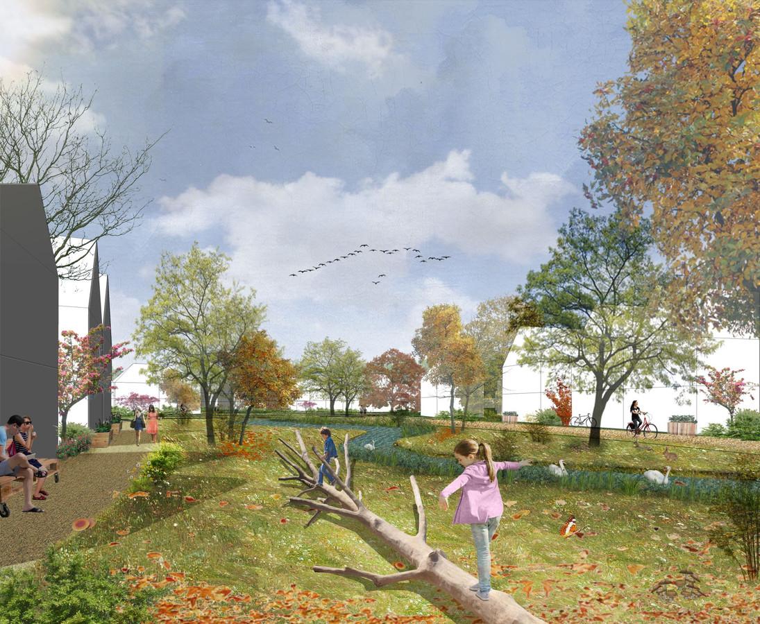 De natte wadi die in de nieuwe woonwijk Amstelwijck in Dordrecht komt te liggen.